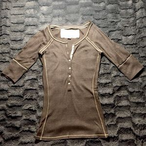 Abercrombie & Fitch Brown 3/4 sleeve Shirt Small